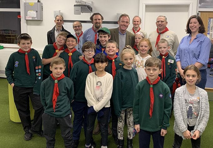 Nick Herbert with the Pulborough Area cub scouts and pack leaders.