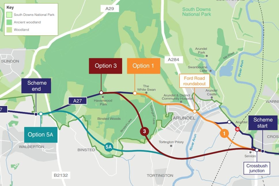 A27 Arundel by pass last route options