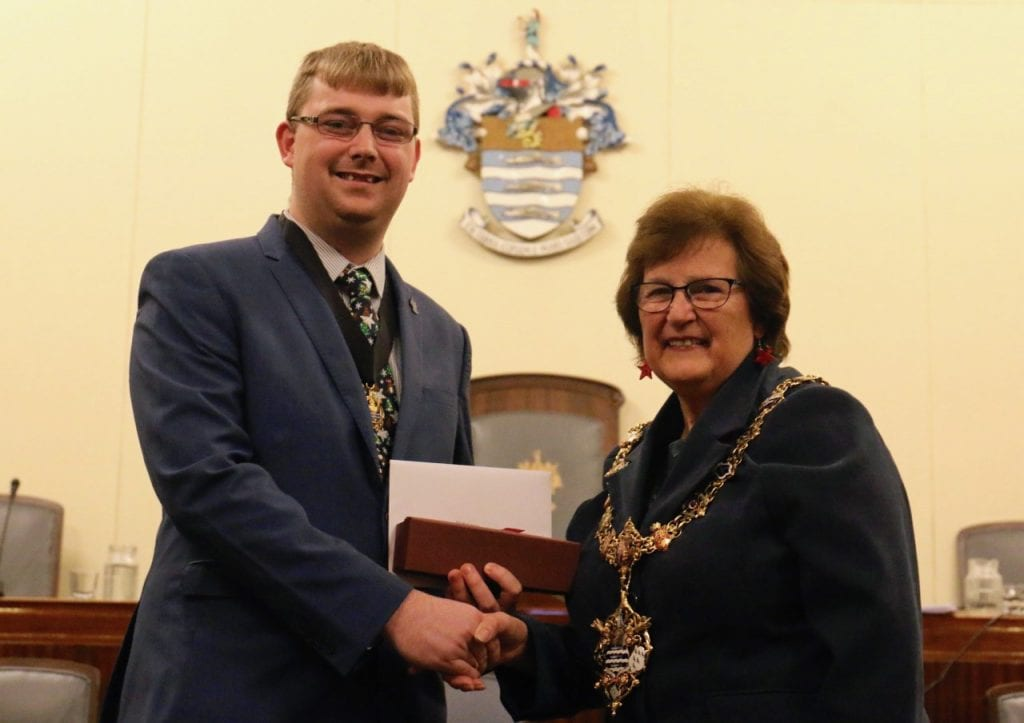 Alex Harman with the Mayor of Worthing, Cllr Hazel Thorpe