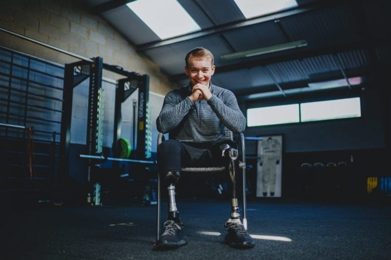 22ND JANUARY 2021 - STORRINGTON, ENGLAND: Billy Monger poses for a picture at AW Performance Gym on the 22nd January 2021 in Storrington, England. (Photo by Jordan Mansfield/Comic Relief)