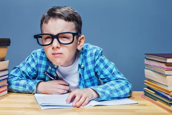 Child taking exam, West Sussex