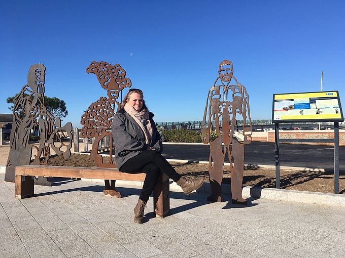 Cllr Emma Evans with the new portrait bench which is part of a new gateway to Shoreham Beach