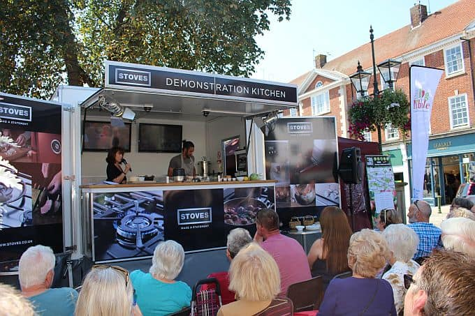 Packed audience at the Live Cookery Theatre