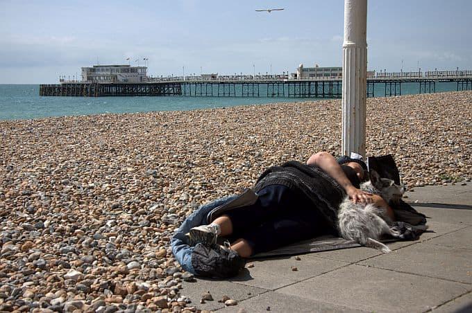 Rough sleeper on Worthing beach