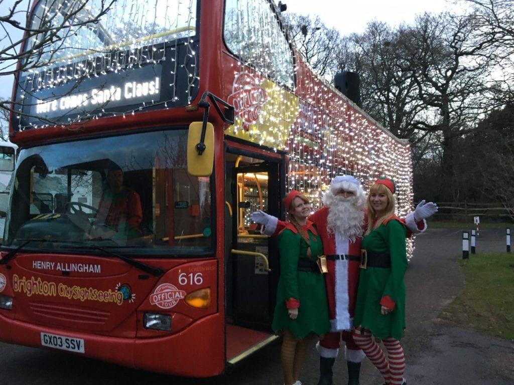 Santa and Elves with Santa bus