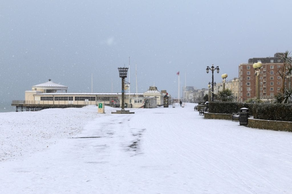 Snow on Worthing seafront
