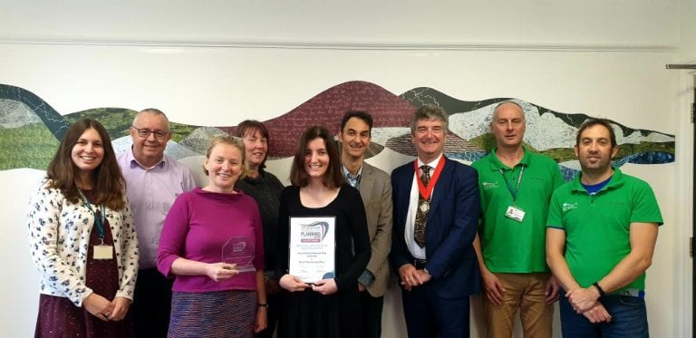 Staff from the South Downs National Park Authority pictured with the RTPI trophy with Ian Tant (third from right)