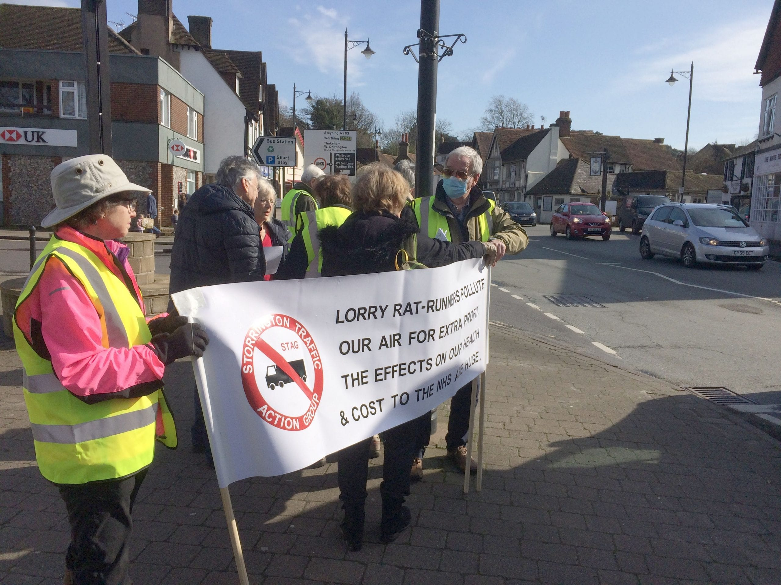 Storrington Traffic Action Group protesting 6th March 2020