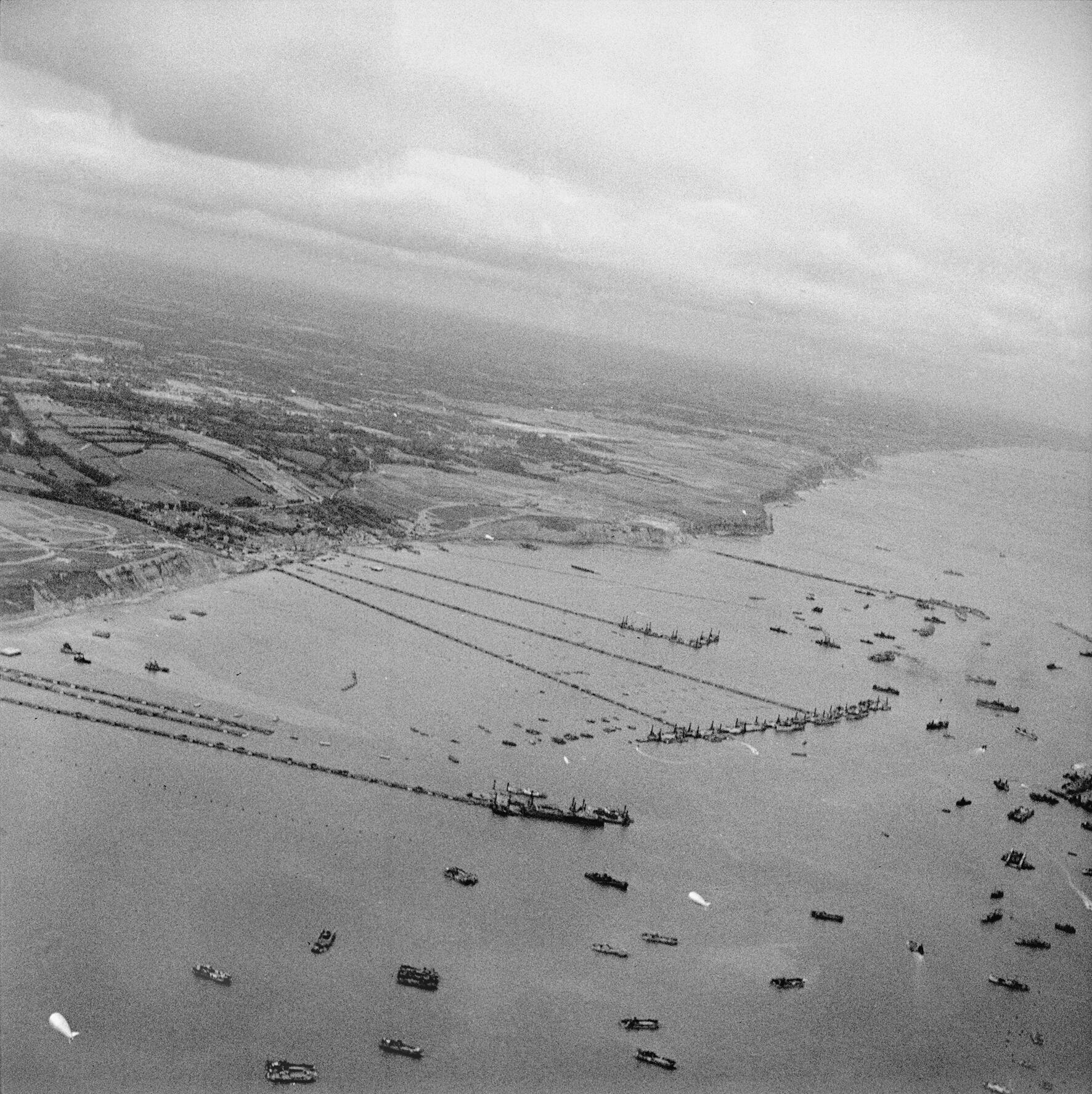 Mulberry Harbours off Arromanches in Normandy