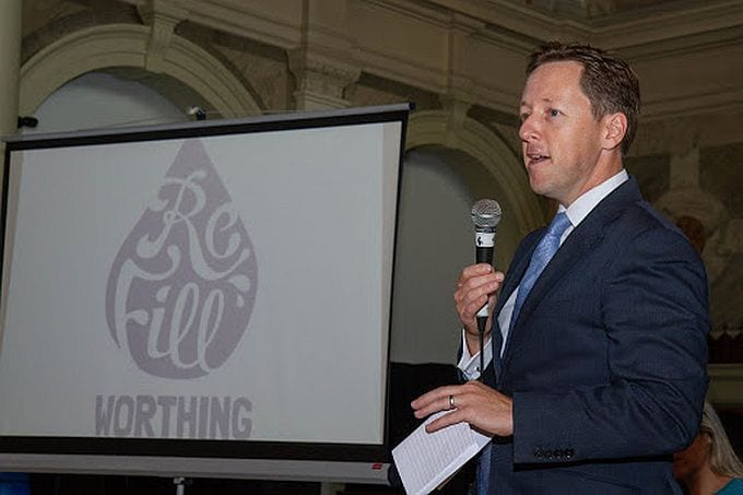 Worthing Borough Council leader Dan Humphreys at the launch of Refill Worthing