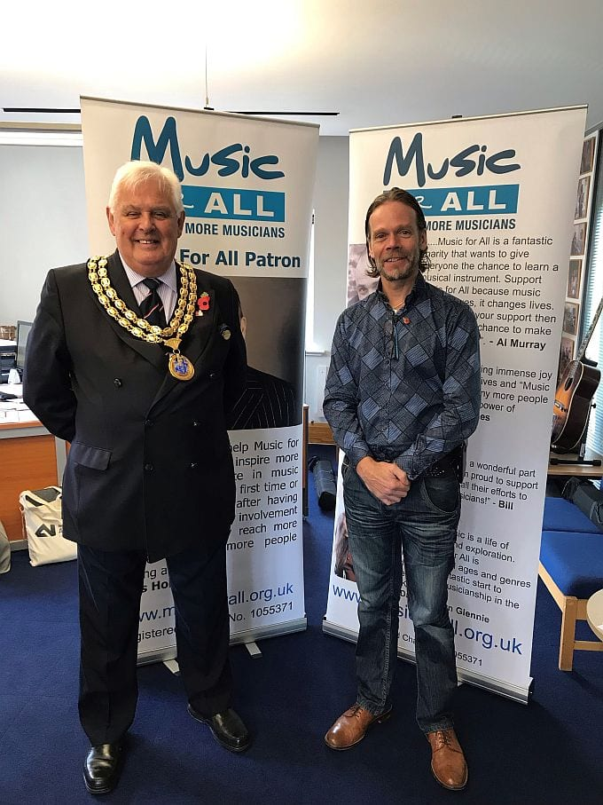 Music for All's Paul McManus with HDC Chairman Cllr Peter BUrgess