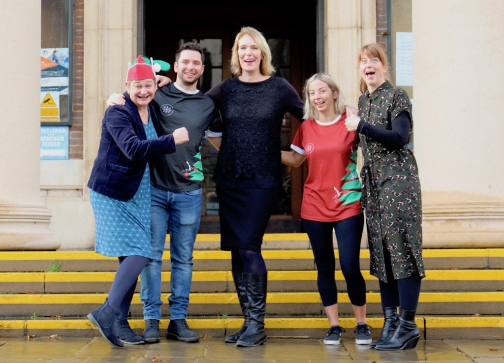 Adur & Worthing Councils Fiona Burn (left), Caroline Squires (middle) and Jo Clarke (right) with Kevin Betts and Clare Rixton of Run Up To Christmas
