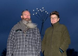 Artists Jane Fordham and David Parfitt stand infornt of the new lights at the Shoreham Airshow Memorial