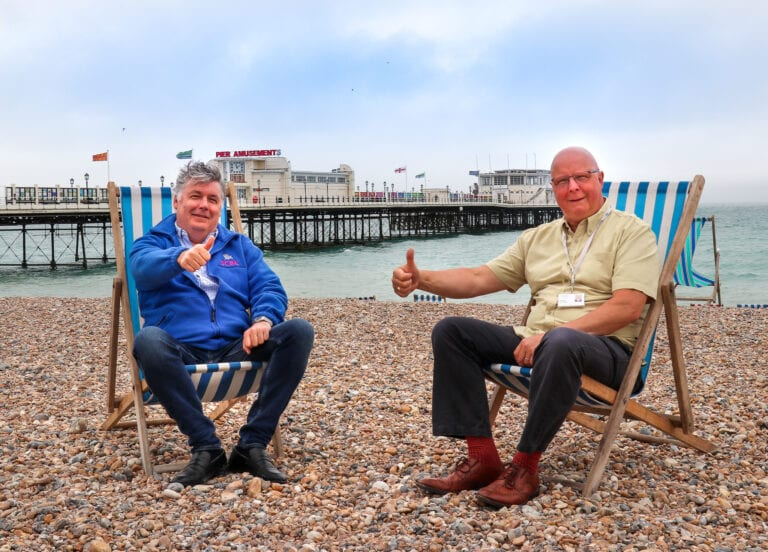Daniel Capstick-Dale, Director of South Beach Leisure Ltd (left) with Cllr Kevin Jenkins, Worthing's Executive Member for Regeneration