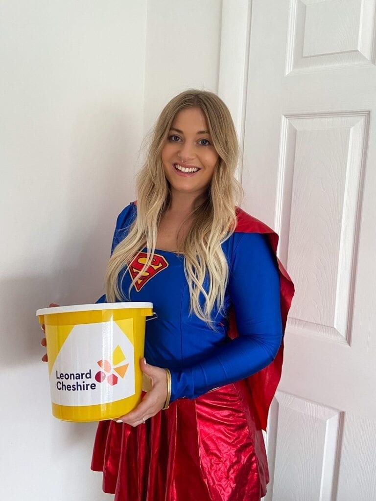 Ali Hemsley charity superhero for Lenoard Cheshire challenge 2021